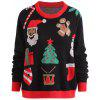 Christmas Santa Claus Snowman Plus Size Sweater - BLACK