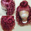 Long Free Part Fluffy Loose Wave Lace Front Synthetic Wig - WINE RED