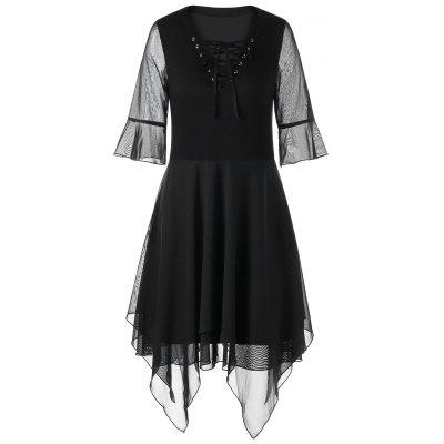Flare Sleeve Lace Up Handkerchief Dress