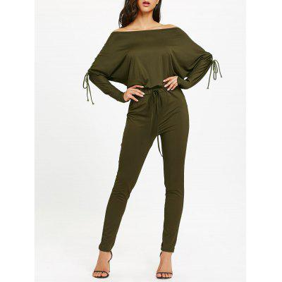 Lace Up Off The Shoulder High Waisted Jumpsuit