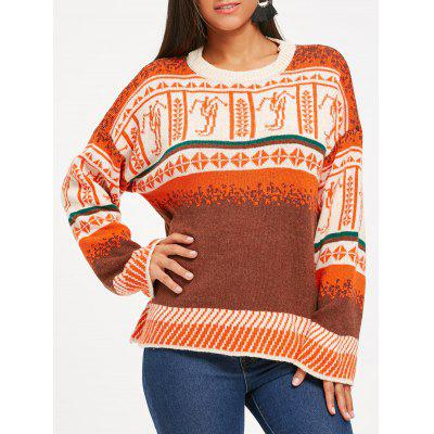 Drop Shoulder Jumper Sweater with Jacquard