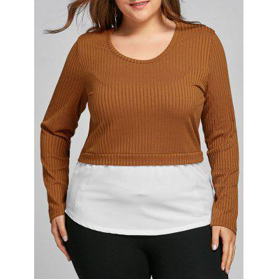 Buy COFFEE 6XL Plus Size High Low Two Tone Blouse for $14.76 in GearBest store