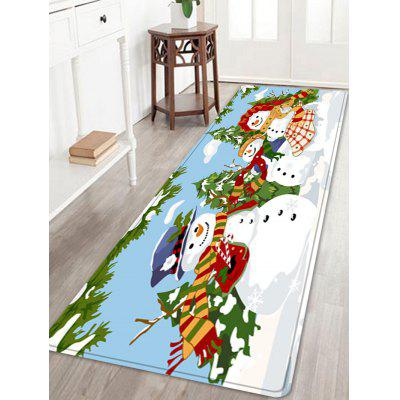 Christmas Snowmen Family Trees Pattern Water Absorption Area Rug