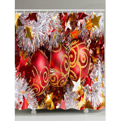Red Christmas Ball Pattern Showerproof Bathroom Curtain