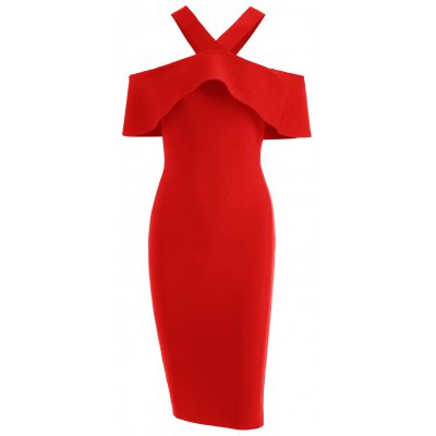 Buy RED S Flounce Hem V Neck Bandage Dress for $35.13 in GearBest store
