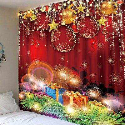 Christmas Red Balls and Gifts Printed Wall Tapestry