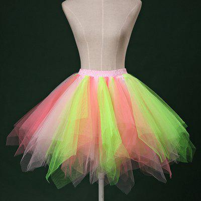 Zaful Candy Color Patchwork Tulle Tutu Skirt Women Petticoat