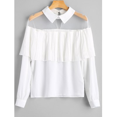 Mesh Panel Overlay Pleated Blouse
