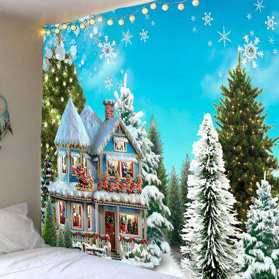 Christmas House Trees Snowflakes Printed Wall Tapestry