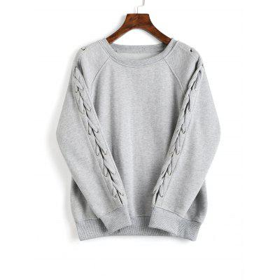 Lace Up Raglan Sleeve Loose Sweatshirt