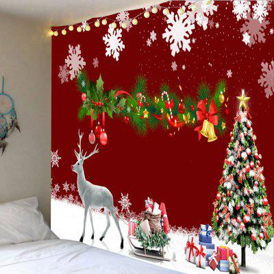 Christmas Decorations Tree Elk Snowflakes Printed Tapestry
