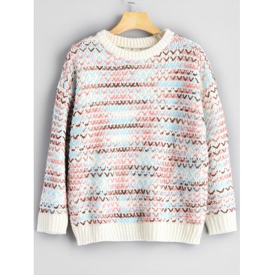 Crew Neck Colormix Chunky Sweater