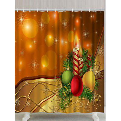Christmas Balls and Candles Print Waterproof Polyester Bath Curtain