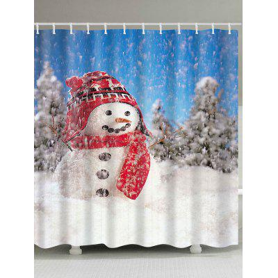 Christmas Snowman Pattern Polyester Waterproof Shower Curtain
