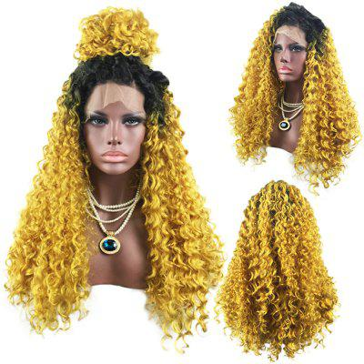 Long Free Part Colormix Shaggy Curly Lace Front Synthetic Wig
