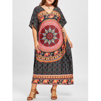 Plus Size Ethnic Elephant Mandala Poncho Dress