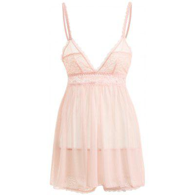 Mesh Sheer Slip Babydoll with Lace