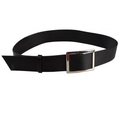Vintage Metal Buckle Embellished PU Leather Wide Waist Belt