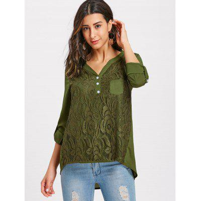 Lace Buttoned V-neck BlouseBlouses<br>Lace Buttoned V-neck Blouse<br><br>Collar: V-Neck<br>Material: Polyester<br>Package Contents: 1 x Blouse<br>Pattern Type: Solid<br>Season: Fall, Spring<br>Shirt Length: Long<br>Sleeve Length: Three Quarter<br>Style: Fashion<br>Weight: 0.3200kg