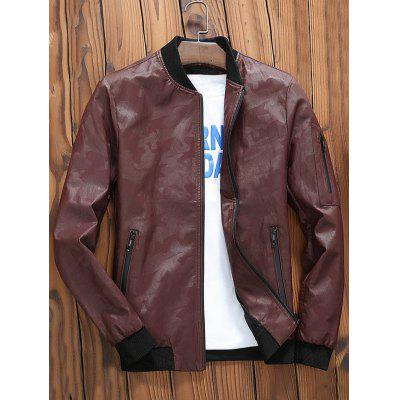 Zip Up Faux Leather Camo Bomber JacketMens Jackets &amp; Coats<br>Zip Up Faux Leather Camo Bomber Jacket<br><br>Closure Type: Zipper<br>Clothes Type: Leather &amp; Suede<br>Collar: Stand Collar<br>Material: Polyester, PU<br>Occasion: Going Out, Casual<br>Package Contents: 1 x Jacket<br>Season: Winter, Fall<br>Shirt Length: Regular<br>Sleeve Length: Long Sleeves<br>Style: Casual<br>Weight: 0.8500kg