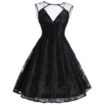 Vintage Mesh Panel Sleeveless Dress