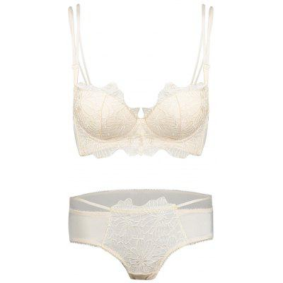 Double Strap Embroidered Push Up Bra Set
