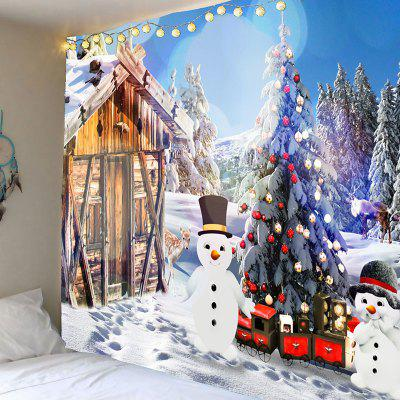 Christmas Snow House and Snowman Printed Wall Tapestry