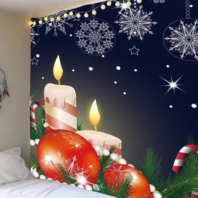 Christmas Candles Balls Candy Cane Printed Tapestry