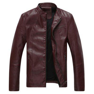 Full Zip Stand Collar Faux Leather Jacket