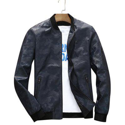 Zip Up Faux Leather Camo Bomber Jacket