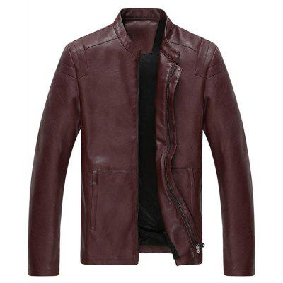 Mandarin Collar Full Zip Faux Leather Jacket