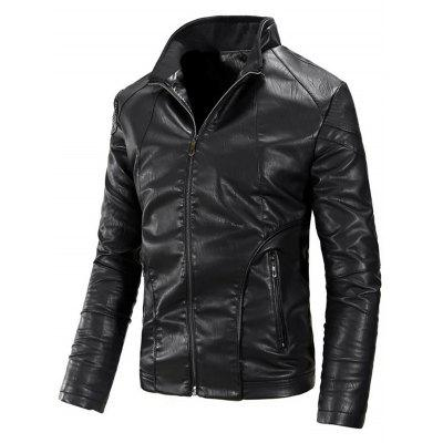 Stand Collar Zipper Flocking Faux Leather Jacket