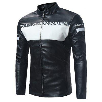 Graphic Color Block PU Leather Zip Up Jacket