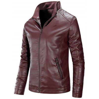 Stand Collar Full Zip PU Leather Jacket