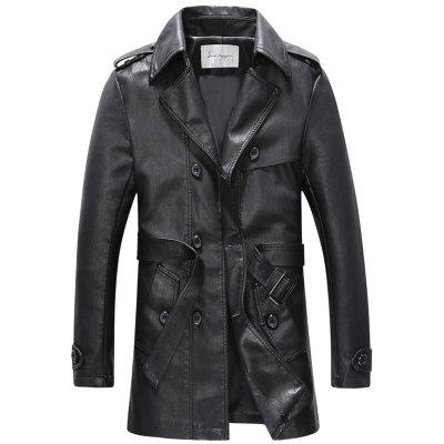 Double Breasted Belt PU Leather Trench Coat