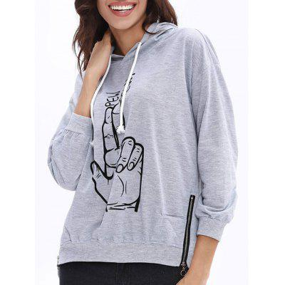 Drawstring Side Zipper Finger Print Graphic Hoodie