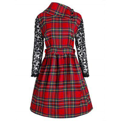 Buy CHECKED XL Christmas Plus Size Plaid Hallow Out Sleeve Dress for $30.61 in GearBest store