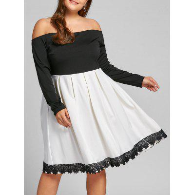 Buy WHITE AND BLACK XL Plus Size Off The Shoulder Swing Dress for $27.30 in GearBest store