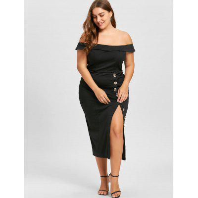 Plus Size Single Breasted High Slit DressPlus Size Dresses<br>Plus Size Single Breasted High Slit Dress<br><br>Dresses Length: Mid-Calf<br>Embellishment: Button<br>Material: Polyester<br>Neckline: Off The Shoulder<br>Package Contents: 1 x Dress<br>Pattern Type: Solid Color<br>Season: Fall, Spring<br>Silhouette: Pencil<br>Sleeve Length: Short Sleeves<br>Style: Club<br>Weight: 0.4800kg<br>With Belt: No