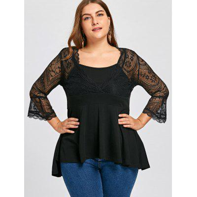 Plus Size Sheer Lace Trim Babydoll TopPlus Size Tops<br>Plus Size Sheer Lace Trim Babydoll Top<br><br>Collar: Scoop Neck<br>Embellishment: Lace<br>Material: Polyester, Spandex<br>Package Contents: 1 x Top<br>Pattern Type: Others<br>Season: Spring, Fall<br>Shirt Length: Long<br>Sleeve Length: Full<br>Style: Fashion<br>Weight: 0.3000kg