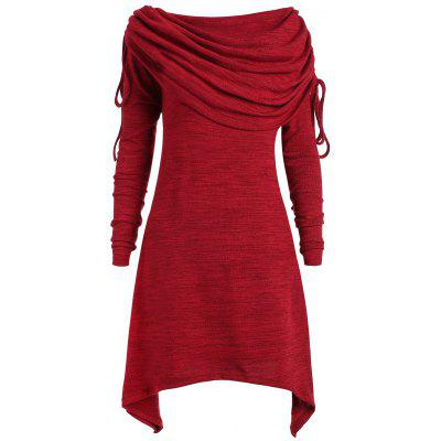 Long Foldover Collar Plus Size Ruched Top