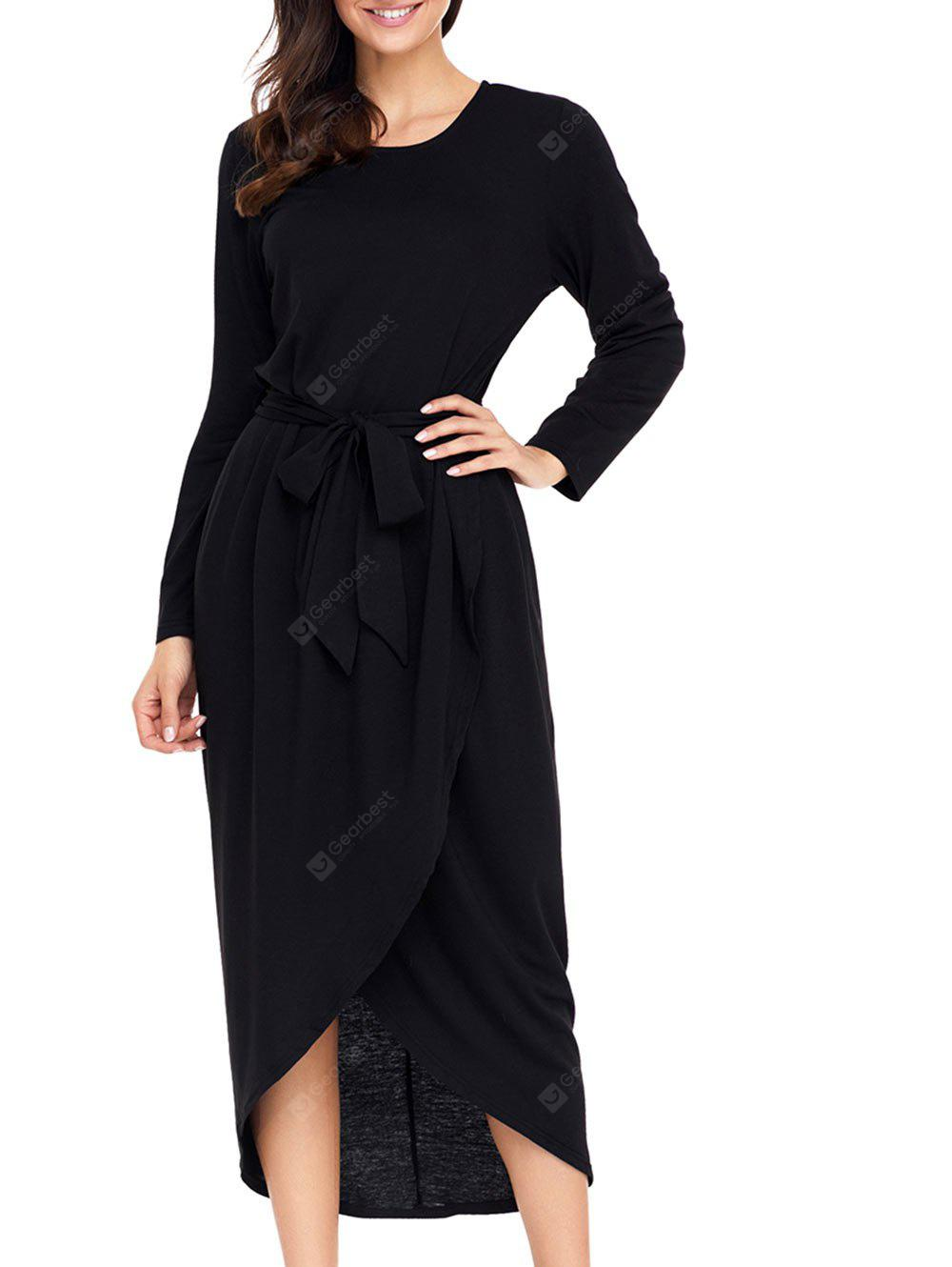 Long Sleeve Tulip Dress with Belt