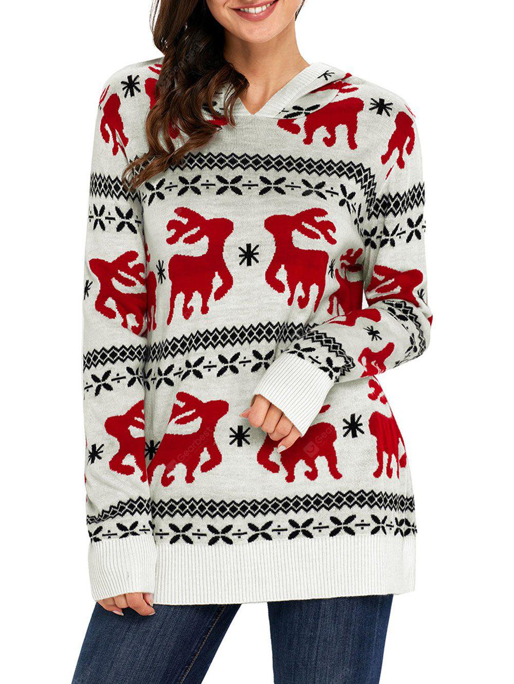 Hooded Christmas Deer Jacquard Sweater