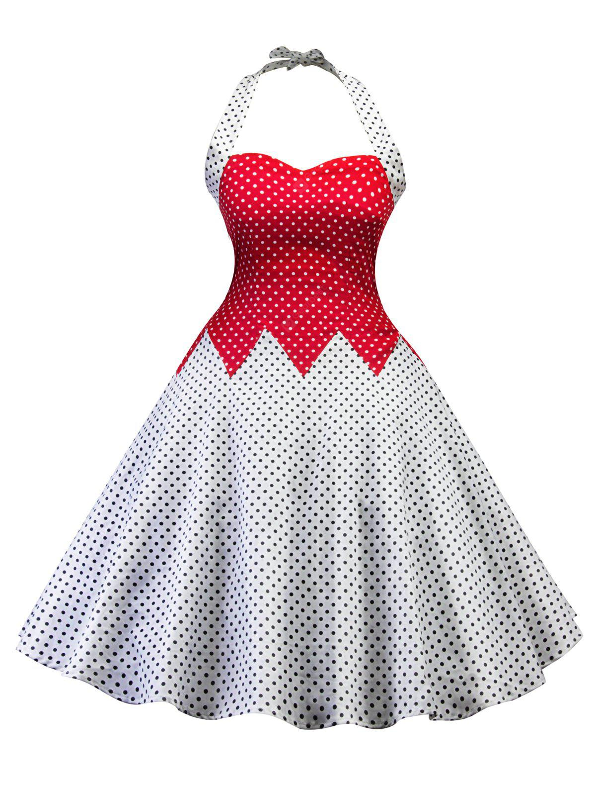 Vintage Halter Polka Dot Color Block Pin Up Dress