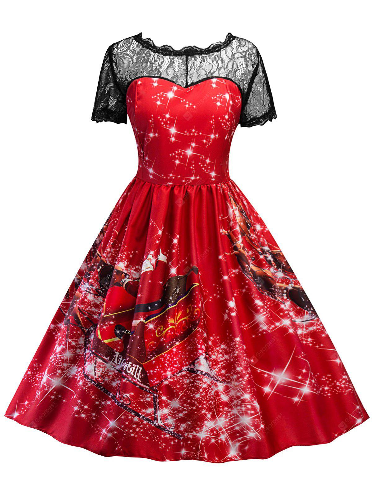 Vintage Lace Insert Printed Christmas Pin Up Dress