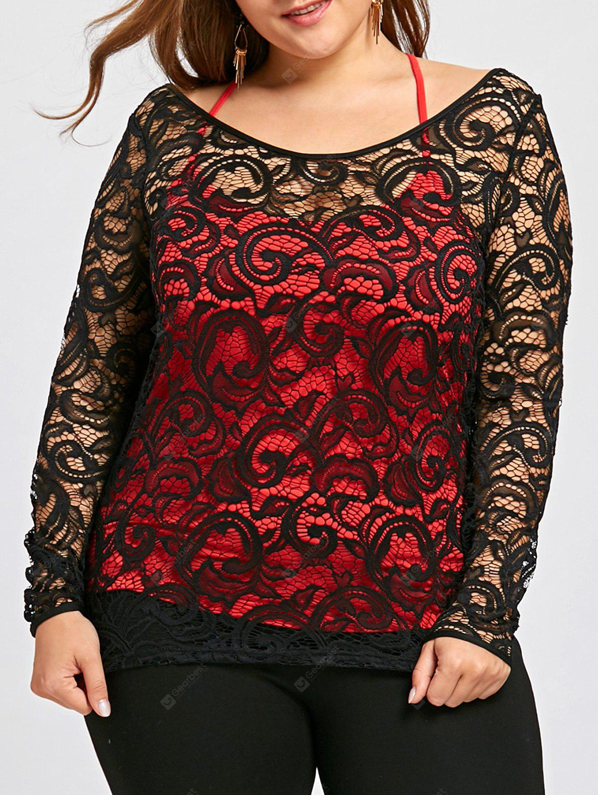 Plus Size Sheer Lace Blouse with Tank Top