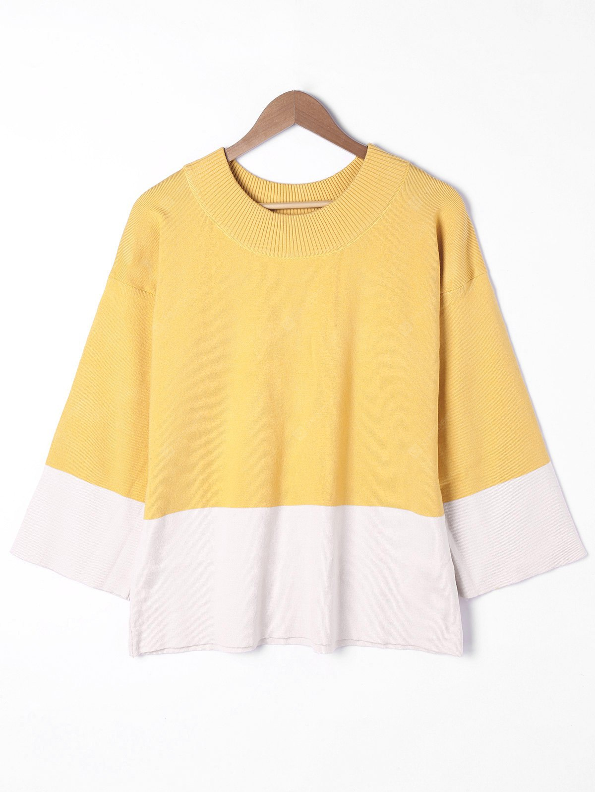 Plus Size Dropped Shoulder Two Tone Sweater