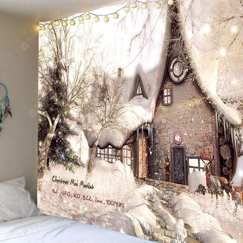 Christmas White Snow House Printed Wall Tapestry