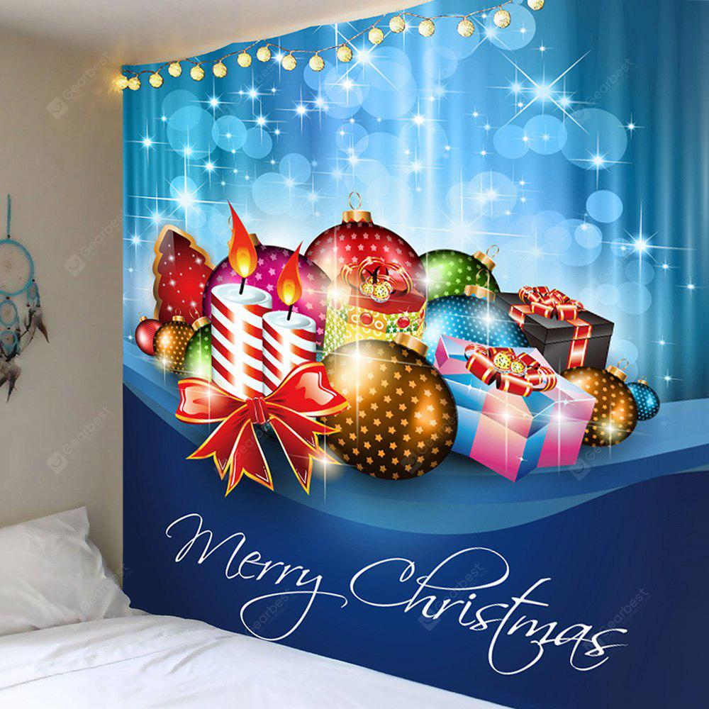Christmas Candles Balls Gifts Patterned Wall Decor Tapestry