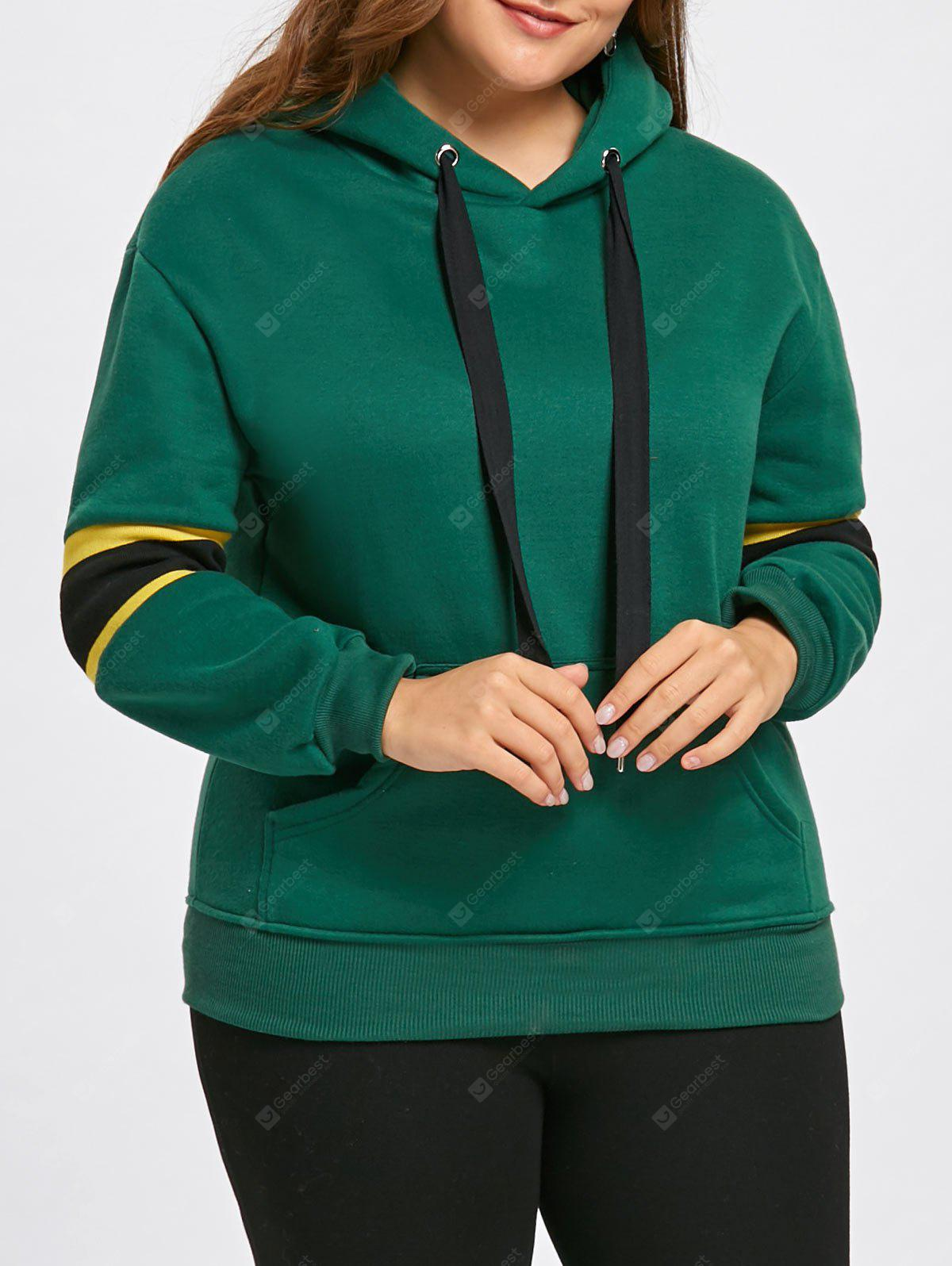 Plus Size Stripe Insert Fleece Lined Pocket Hoodie